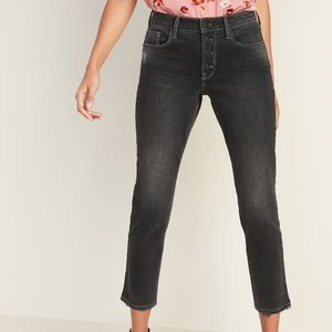 High-Waisted Slim Straight Button-Fly Ankle Jeans